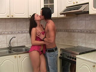 Cock sucking teen girl gets busy in kitchen from Teen Sex Mania